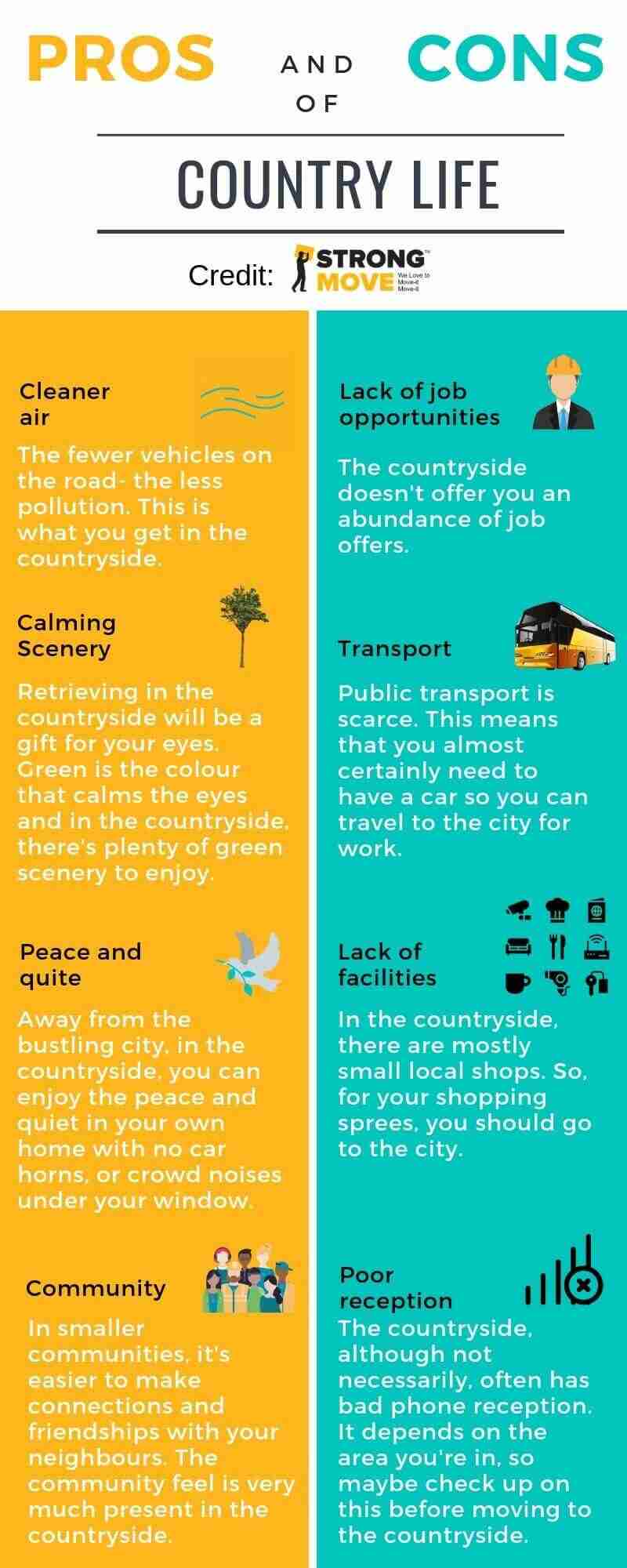 Pros and Cons of Country Life Info-graphic